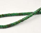 "Superb Green Heishi Turquoise Strand 6mm deep 3mm, 15"" Full One Strand Gemstone Beads"