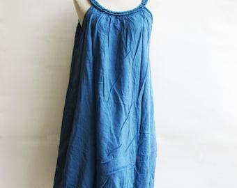 D22, Blue Swan Double Layers Blue Cotton Dress