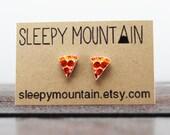 Pizza Earrings - Pizza Slice Stud Earrings