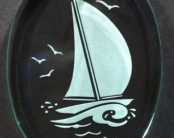 Carved Glass Sailboat Ornament