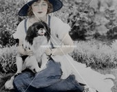 Lovely Lady and Dog 2  VIntage photograph, digital download