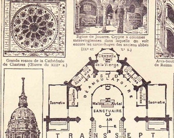 Antique French Print Illustrated Page 1920s Cathedral layout Sacred Architecture design