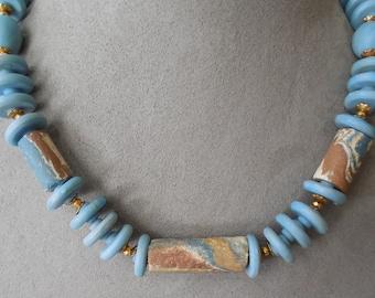 MIRIAM HASKELL Signed Desert Blue Necklace & Earrings Set