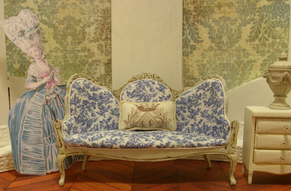 Napoleon III Style Sofa in Blue and White Toile Miniature Dollhouse Furniture Scale 1:12