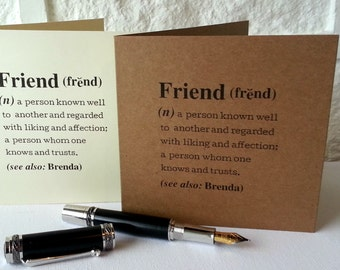 Personalized 'Friend' Definition Card