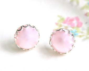 Pink Pearl Round Scalloped Silver Setting Post Earrings- Wedding, Bridal, Bridesmaid, Holiday