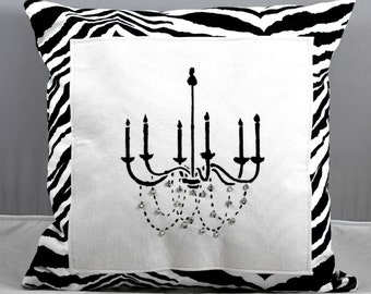 Chandelier Pillow Bedazzled with Clear Rhinestones on black and white  Zebra print fabric 16x16