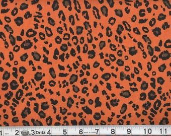 Orange Leopard Animal Print Fabric per yard/100% cotton top quality material /ideal for Clothing/Craftings/home decor/ pillow covers