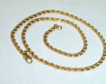 Vintage Gold Plated MONET Signed Rope Chain Necklace- UNISEX
