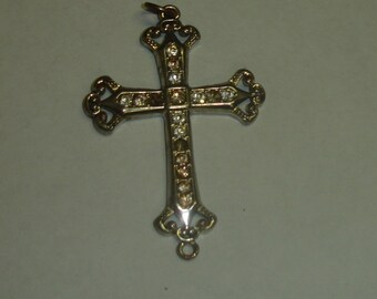 Vintage Silver Plated Gothic Cross Large Pendant 4 Repair or Repurpose