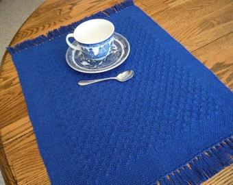 Placemats Handwoven, Set of 4 Placemats, Loom Woven Placemats, Table Mat, Table Linens, Cobalt Blue Placemat, Handwoven Textile, Loom Woven