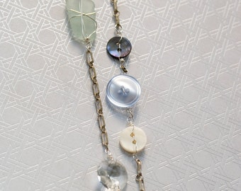 Sterling Beach and Button Necklace