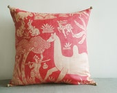 Printed Dupioni Silk Pillow , Indian Jungle Theme Pillow , Decor Pillow , Throw Pillow , Decor for your Little Girl's Room