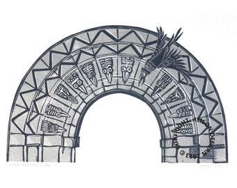 ORIGINAL lino print - Birkin Beakheads I
