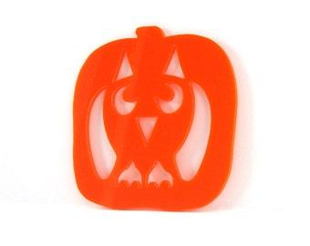 Owl Pumpkin Ornament Halloween Decoration Orange Hand Cut Acrylic