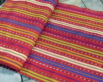 Guatemalan Ikat Fabric in Rich Brown and Celadon Stripe