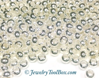 Metal Seed Beads, 6/0, Size 6, STERLING SILVER Plated, 3x4mm, Brass Spacer Beads, Made In The USA, Lead Free, Lot Size 30 grams, #1402