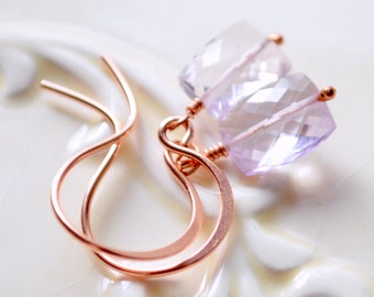 Simple Pink Amethyst Earrings, Drop AAA Genuine Gemstone Rectangle, Radiant Orchid, Rose Gold Jewelry, Petite - Free Shipping