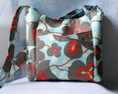 Cross Body Tote Bag with Front Pockets - Sunday Sling in Amy Butler Morning Glory