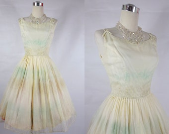 1950's Vintage White Party Dress with Light Green and Brown Striped Design