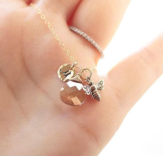 Golden Honey Bee Necklace, Gold Initial Charm - Golden Shadow Swarovski Crystal, Personalized Jewelry, 14k Gold Fill - Dainty Jewelry