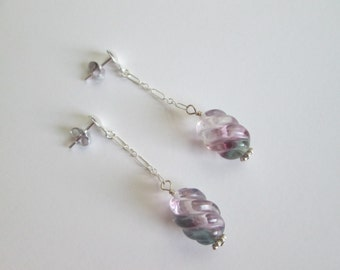 Carved rainbow fluorite sterling silver earrings