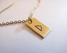 Golden Mountain Necklace // 14kt Gold Chain Custom Necklace // Inspirational // Power, Strength // Climber, Mountain Climber // Wild Woman