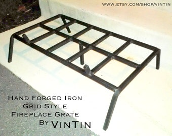 Hand Forged Iron Grid Style Fireplace Grate by VinTin (Item # F-213)