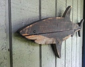 New for shark week! Shark art, made of recycled fence wood.