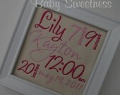 Birth Info Plaque on Canvas Birth Announcement Subway Art Embroidered 7x7 Pink