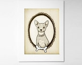 Chihuahua Art Print, Personalized Gift, Gift for Dog Lovers - 5x7 Dog Illustration, pet lover artwork