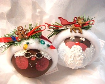 Black Santa Christmas Ornament Set of 2 Mrs Claus Gingerbread Sleigh Rudolph Christmas Lights Personalized Townsend Custom Gifts - BackRoom