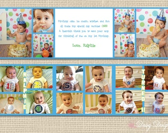 Thank You Cards - Tri Fold Accordion Style with Photo Collage - Set of 10 with Envelopes