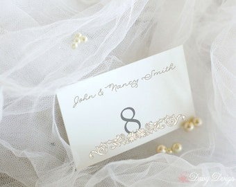 Place Cards with Calligraphy Font and Flourish - Set of 10 Escort Cards - Personalized with Names and Table Numbers