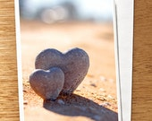 LOVE CARD, Valentines Day Card, Beach Themed Love Card, I Love You Card, Rock Hearts Card, Heart Stones Card, Wedding Card, Anniversary