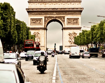 Paris Arc De Triomphe Photo 8 x 12 Print, Paris, Paris Photography, Paris Landmark, France, Vintage, Arc de Triomphe, Champs Elysees,