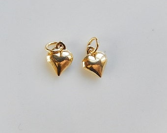 2 pcs Gold  Vermeil puffy heart charm (8x11mm), gold plated .925 sterling silver, gold heart