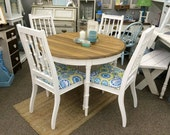 Cottage chic round dining table 40.5 x 30H and 4 chairs - white finish