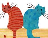 Red Cat Blue Cat Giclee Print