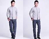 Soothing Quartz / Linen Men's Shirt with Lower shoulder seams/ Hidden buttons/ 13 Colors / RAMIES