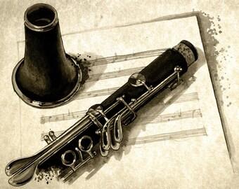 Clarinet - weathered print