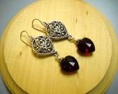Vintage German Glass Ruby Red Heart Earrings