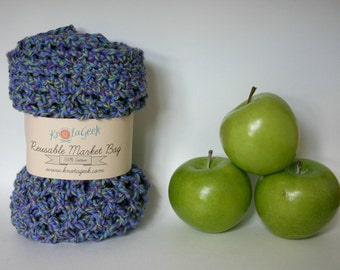 Farmers Market Bag - Reusable Cotton Grocery Tote - Delphinium