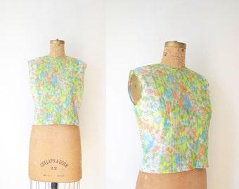 1960s Floral Blouse / 60s Nylon Blouse