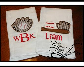 Baseball Applique Burp Cloth Set