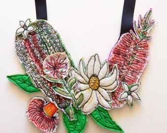 Australiana vintage linen floral neckpiece