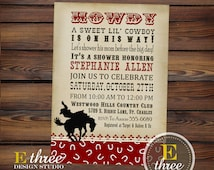 Cowboy Baby Shower Invitation - Western Baby Shower Invitation - Vintage Cowboy Invite - Boys Cowboy Invitation - Red and Brown