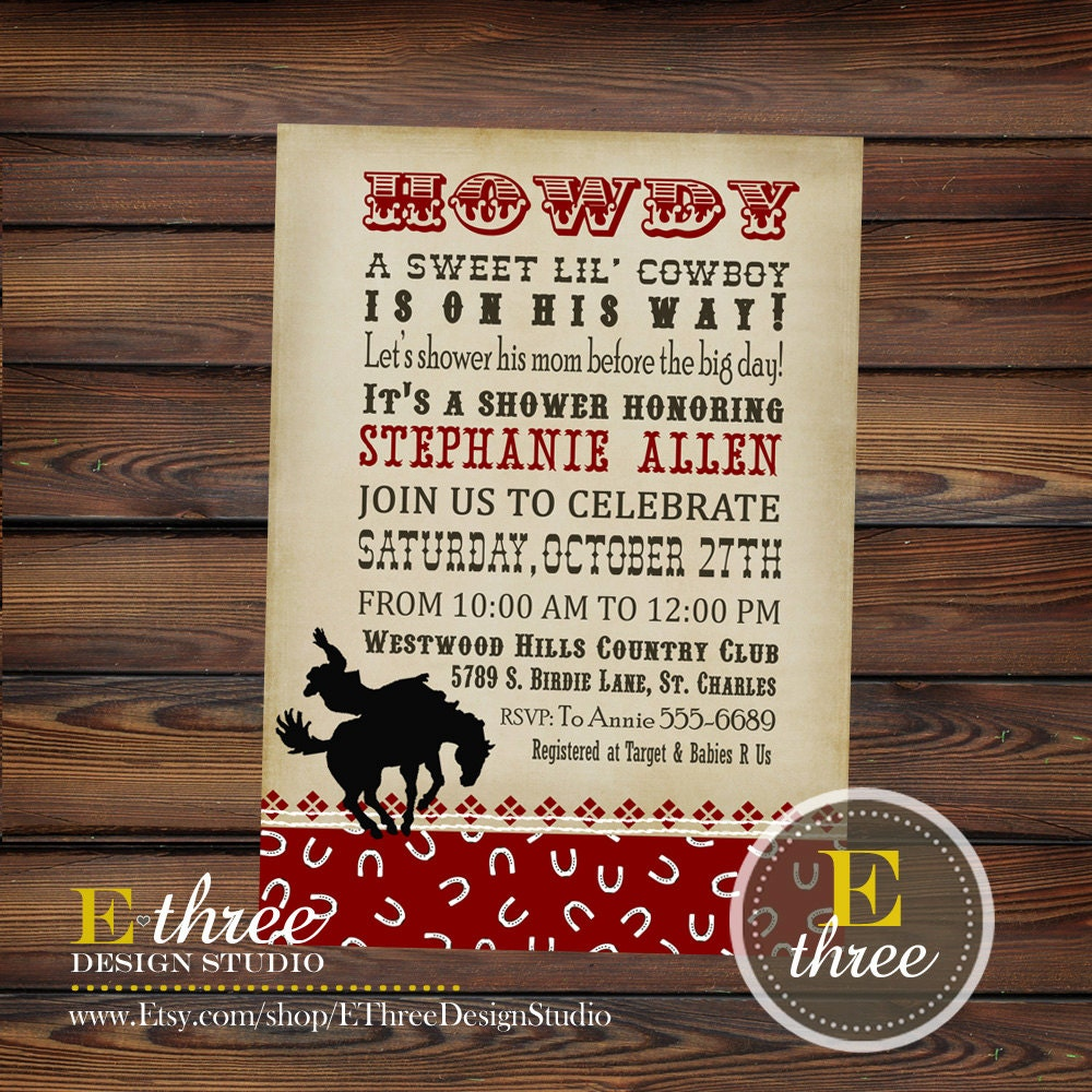cowboy baby shower invitation western shower invitations