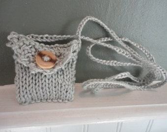 super tiny knitted trinket purse necklace egyptian cotton