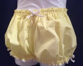 Womens Yellow Bloomers, Costume, Woven Cotton trimmed in White Ribbons and Eyelet